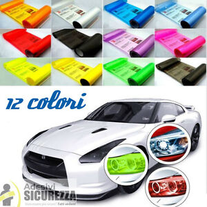 Pellicola adesiva colorata oscurante fari fanali auto moto 14 colori 90% luce