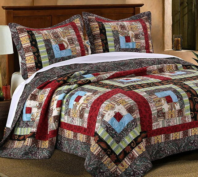King Quilt Set Bedding Rustic Farm Country Cabin Patchwork Plaid Style 3Piece
