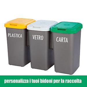 Adesivo wall stickers bidoni raccolta differenziata carta - Bidoni raccolta differenziata ikea ...