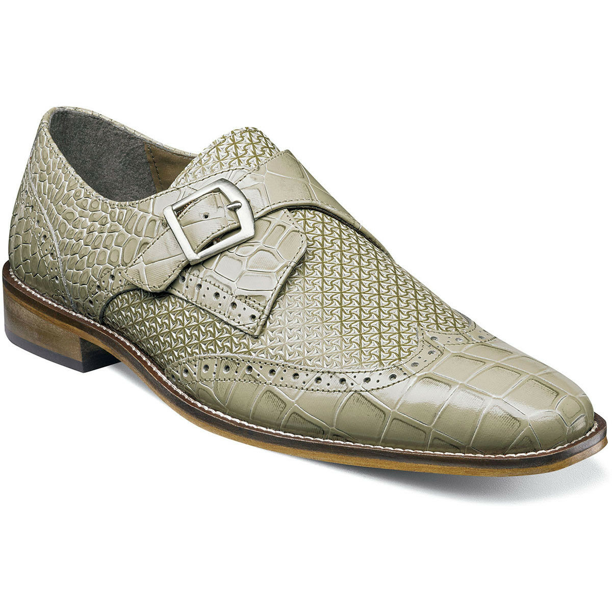 Stacy Adams Men's Giannino-Monk Strap Wingtip Slip-On Loafer, Taupe, Size 9M