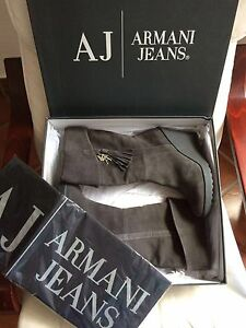 Armani-Jeans-AJ-Shoes-Boots-Botas-LEATHER-41-UK-7-5-USA-9-5-NEW-WITH-TAGS-amp-BOX