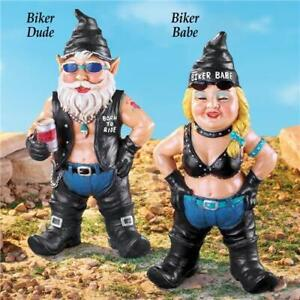 Harley-Motorcycle-Biker-Chick-Babe-amp-Dude-Guy-Gnomes-Garden-Yard-Art-Statues