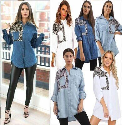 Womens Ladies Oversize Animal Snake Print Roll Sleeved Leopard Denim Shirt Top