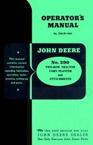 john deere  tractor  corn planter operators manual ebay