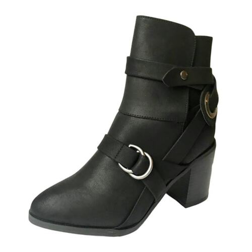 Top Brand Womens Ladies Round Toe Western Block Heel Black Boots New Size 3-8
