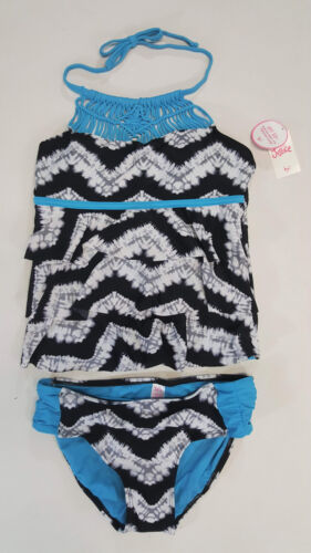 NWT Justice Kids Girls Size 7 or 12 Black Macrame Ruffle Tankini Bathing Suit