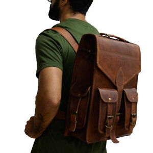 Mens-Leather-Laptop-Backpack-Shoulder-Messenger-Bag-Rucksack-Sling-Bag-Vintage