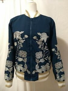 Forever-21-Floral-Embroidered-Bomber-jacket-Size-Small-Zip-Front-Rib-Knit-Trim