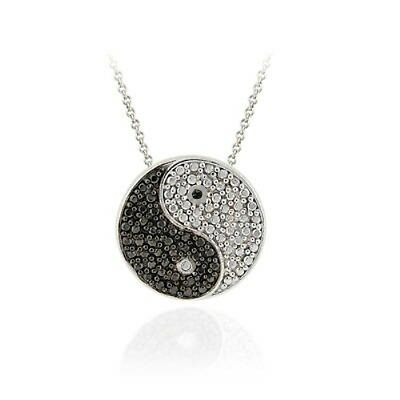 .925 Silver Black Diamond Accent Yin Yang Slide Necklace, 18""