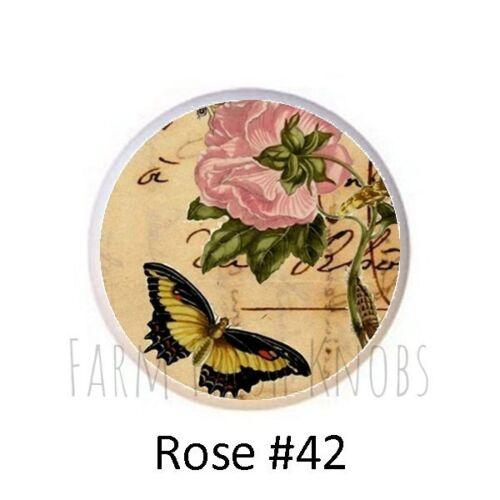 Rose Designs from Vintage Postcards Roses DECORATIVE Drawer Pulls Dresser KNOBS