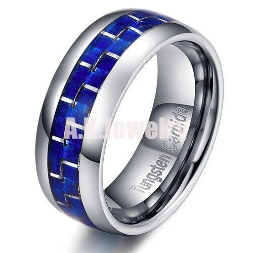 8mm Blue Carbon Fiber Mens Women Tungsten Carbide Ring Wedding Band 6-13 Gift