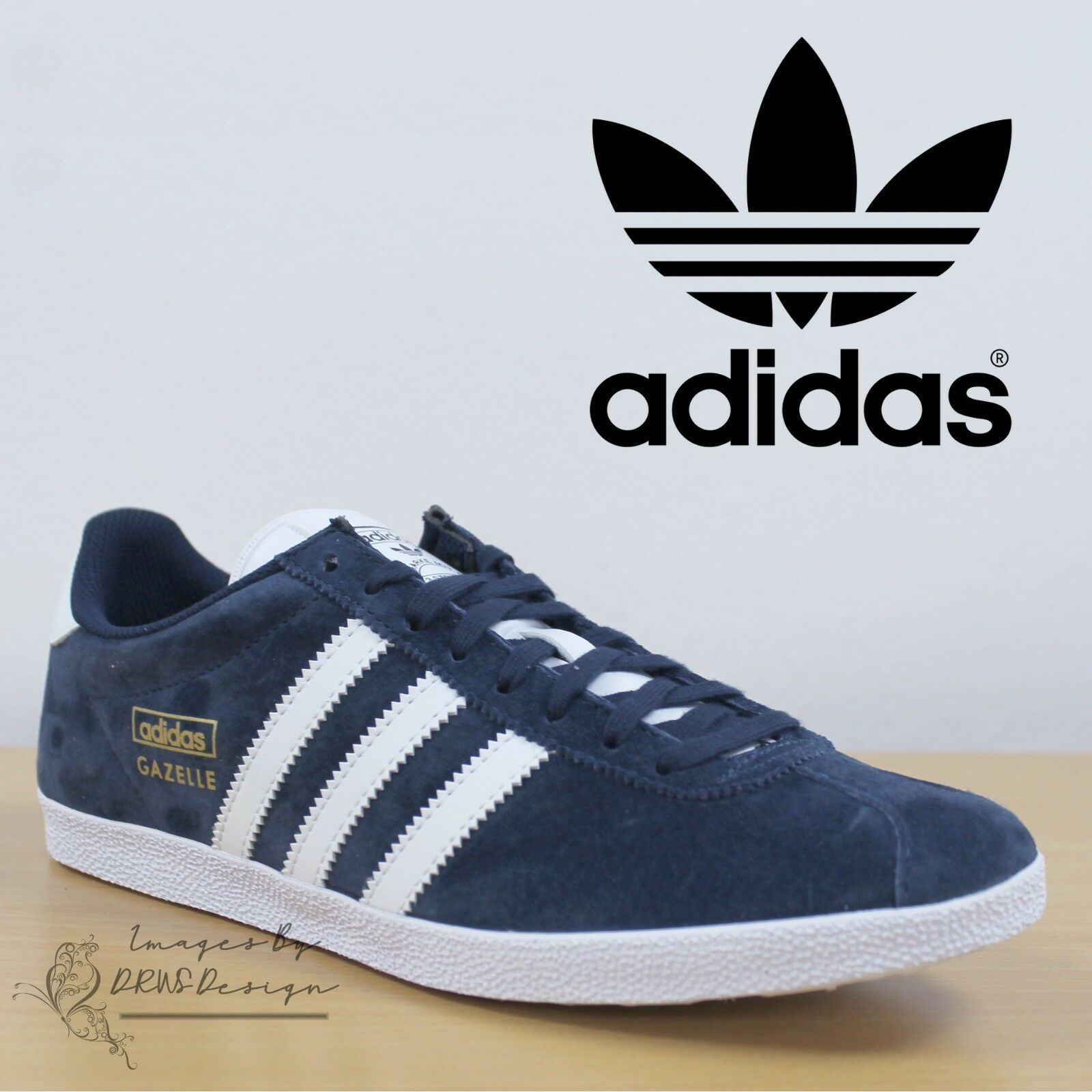 Adidas Originals Gazelle OG Men's Navy Trefoil Trainers Casual Retro Sneakers