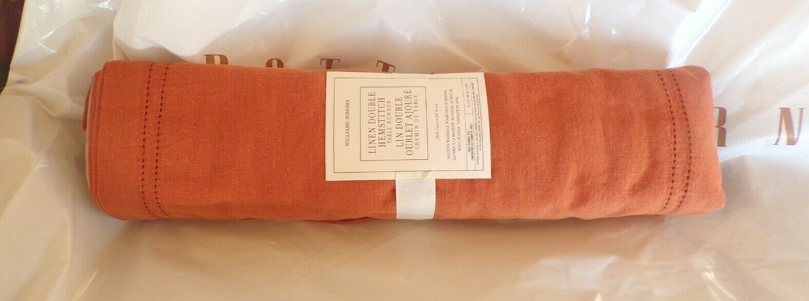 WILLIAMS SONOMA Linen Double Hemstitch Table Table Table Runner, PUMPKIN, NEW 12c244