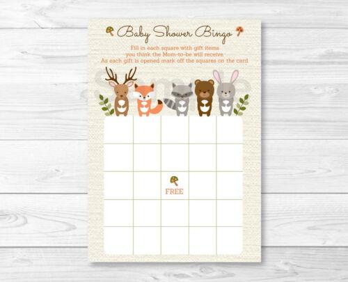 Woodland Forest Animals Gender Neutral Printable Baby Shower Bingo Cards
