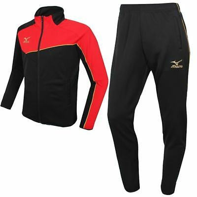 Sweet-Tempered Mizuno Men Slim Fit Knit Training Suit Set Black Red Soccer Jersey P2mc601009 Activewear
