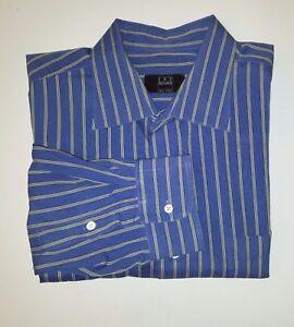 Ike-Behar-Blue-Tan-Stripe-100-Cotton-Button-Front-Dress-Shirt-Sz-17-5-36
