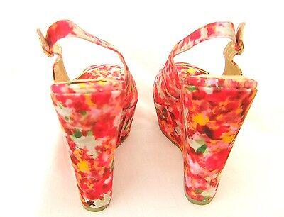 Cerise PINK Floral Con Taco Alto Plataforma Punta Abierta Zapatos 5 6 7 Boda Fiesta