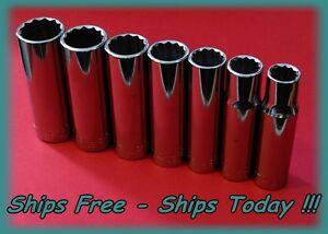 Craftsman-1-2-034-Drive-7-Piece-12-Pt-Point-SAE-Deep-Chrome-Socket-Set-Inch