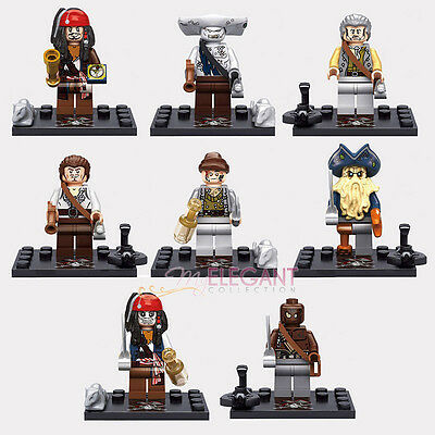 Pirates of the Caribbean Jack Sparrow Davy Jones Zombie 8 Figures Fits with Lego