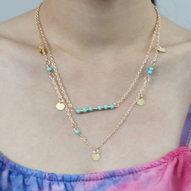 Fashion Boho Women's Necklace Turquoise Layering Sequin Collar Bib Necklace New