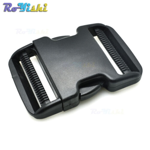 """50mm Plastic Side Release Buckle Black for Hiking Camping Bags 2/"""""""