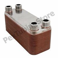 20-plate 3x8 Water To Water Brazed Plate Heat Exchanger, 3/4 Mpt, 316l St Steel