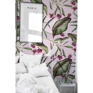Non-Woven-wallpaper-Pink-Tropical-Flowers-Exotic-Leaves-Exotic-Traditional