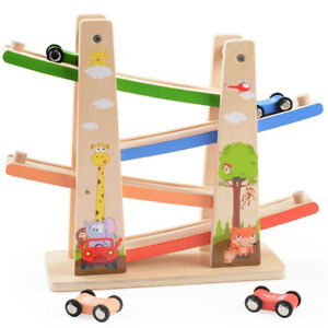 Details About Kids Educational Toy Wooden Car Roller Track Classic Track Racer Toys Child Gift