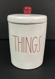 Rae-Dunn-Christmas-By-Magenta-034-THINGS-034-Ivory-Canister-Red-Lettering-Holiday-NEW
