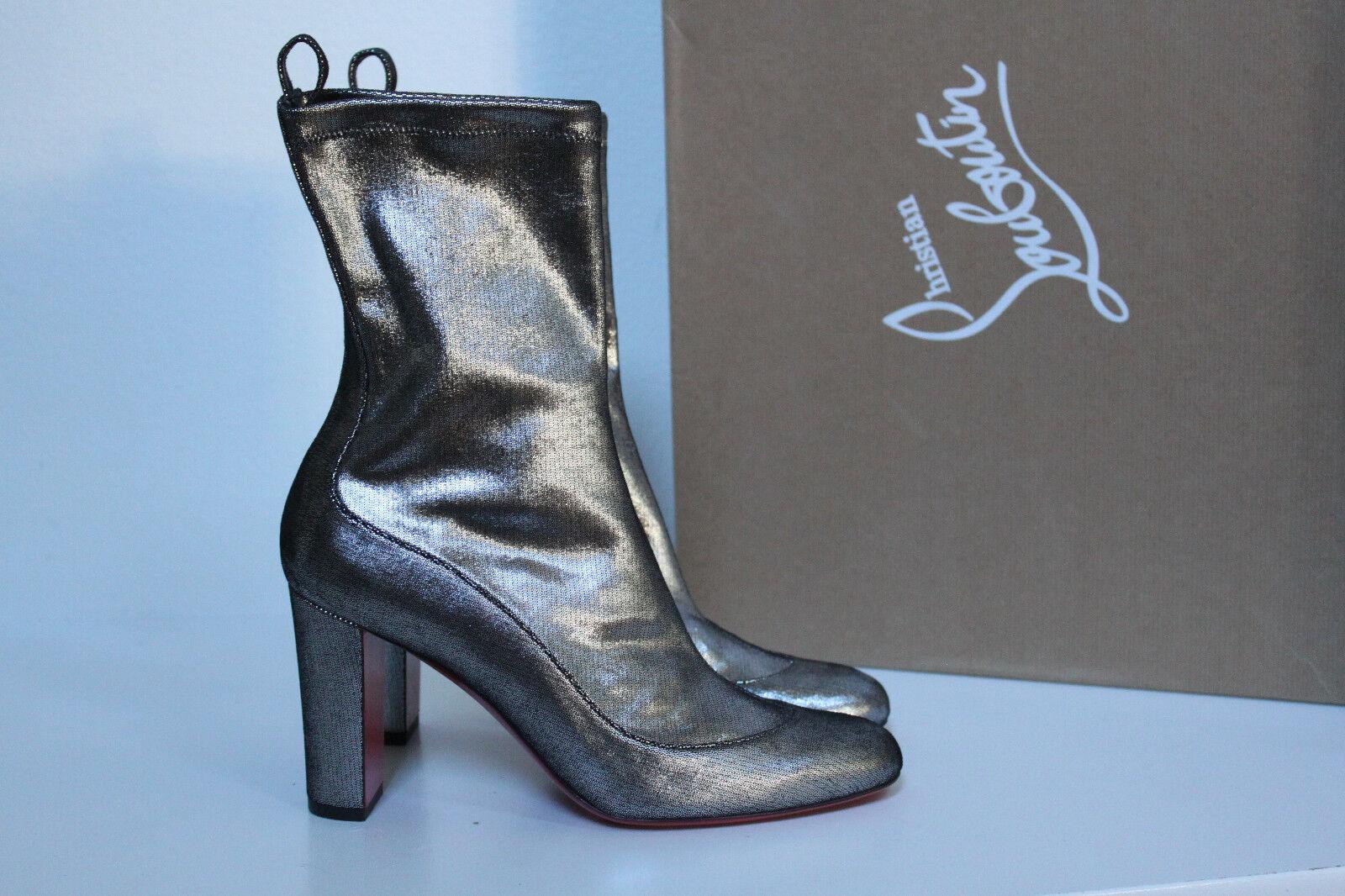 Nuevas Talla 9 39 Christian Louboutin Gena Estiramiento De De De Plata Cuero Botín Zapatos  varios tamaños