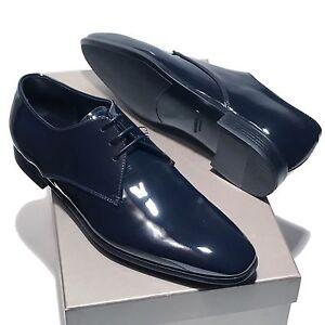 Giorgio-Armani-Navy-Blue-Patent-Leather-Tuxedo-Dress-Oxford-Men-039-s-Shoes-X2C036