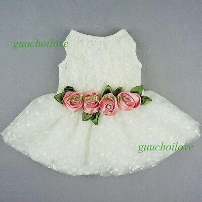 Fitwarm Pink Rose White Lace Dog Wedding Dress Pet Clothes Bridal Gown XS S M L