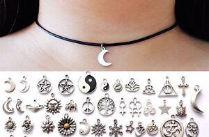 90s-Choose-Charm-Pendant-Boho-Black-Leather-Choker-Necklace-Moon-Flower-Elephant