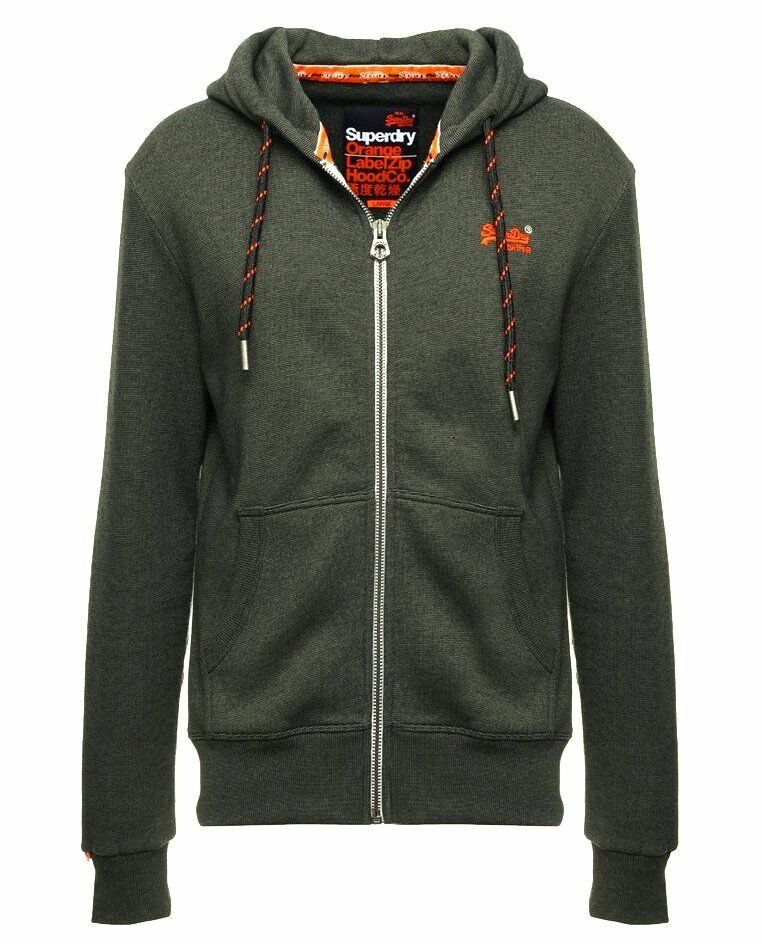 Superdry Men's Orange Label Striped Zip Up hood Sweatshirt Emerald Feeder Stripe