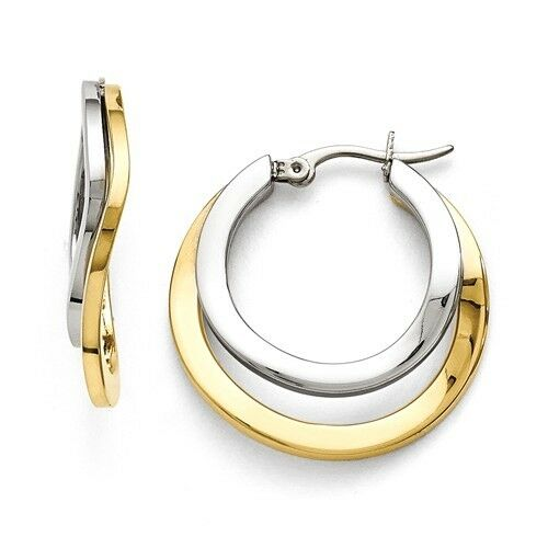 POLISHED STAINLESS STEEL TWO-TONE YELLOW IP PLATED 30 mm HOOP EARRINGS