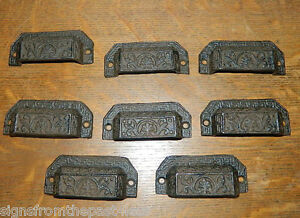 Details about Set/8 Ornate Cast Iron Industrial Tool Seed Index File Bin  Pull or Handles