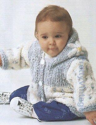 "VINTAGE BABY KNITTING PATTERN DK HOODED JACKET  20-24"""