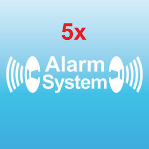 5 Aufkleber Tattoo GPS Alarm System gelb gespiegelt Auto Shop Fenster Scheibe
