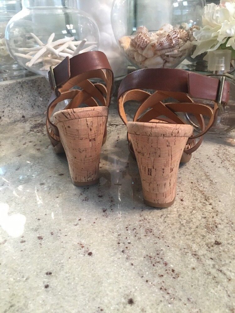 KORKS by by by Kork-Ease  Sandals Chunky Cork Heels Leather Strappy Tan Marronee 9 effaf8