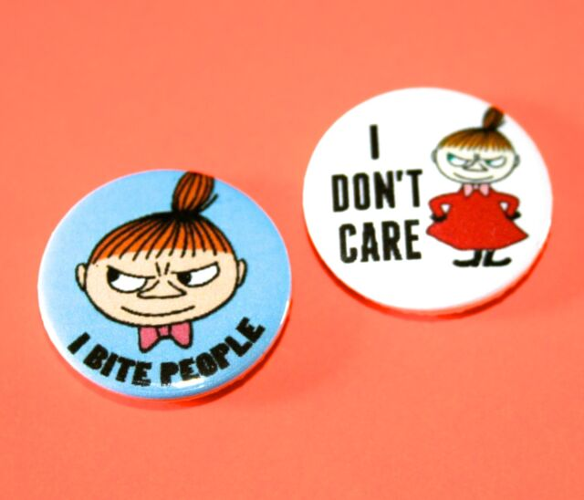 SET OF TWO MOOMIN LITTLE MY BUTTON BADGES