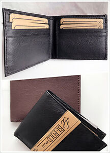 New-Super-A-Mens-Bifold-Genuine-Leather-Wallet-Pockets-Card-ID-Black-Slim-Thin