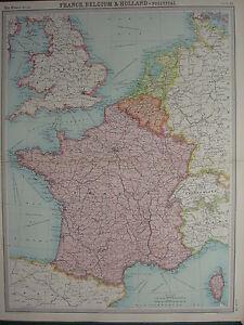 1920 LARGE MAP FRANCE BELGIUM HOLLAND LUXEMBURG BRUSSELS