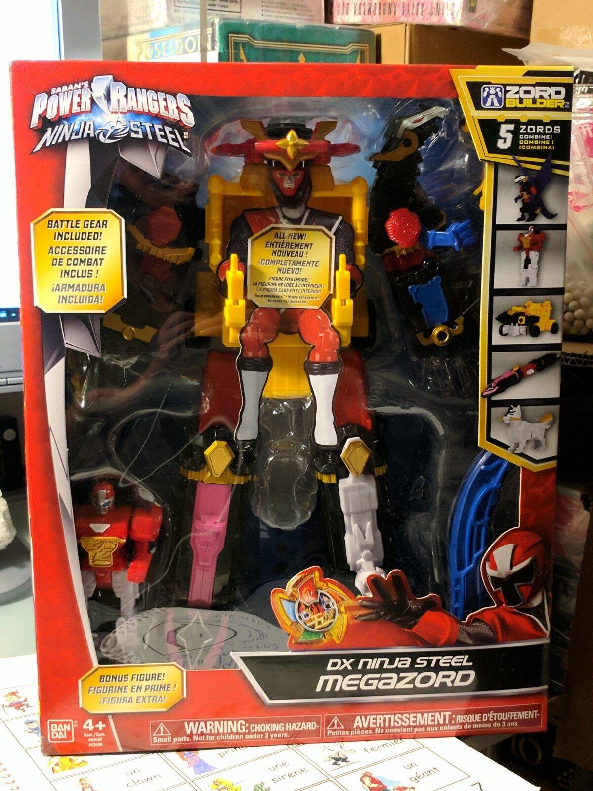 Power Rangers Ninja Steel Deluxe DX Megazord With Battle Gear Gear Gear & Bonus Figure NEW ba3c35