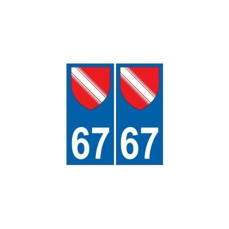 67 Bas Rhin autocollant plaque  arrondis