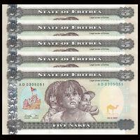 Lot 5 PCS, Eritrea 5 Nakfa, 1997, P-2, UNC