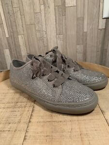 10M SOHO Crystal Lace-Up Sneakers Grey