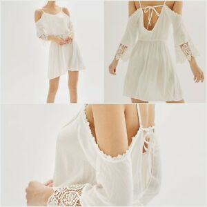 Ex-Topshop-Boho-Cream-Lace-and-Cold-Shoulder-Beach-Dress-Size-S-M-L-RRP-30