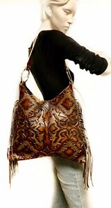 Raviani-Hobo-Style-Bag-Brown-Laredo-Leather-W-Fringe-MADE-IN-USA