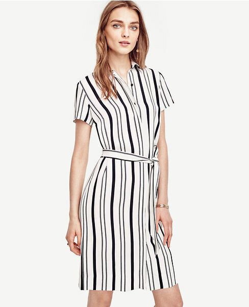 Ann Taylor - Size 4 Cloud White Double Stripe Shirtdress  129.00 (617)