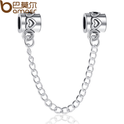 Amant Argent Sécurité Chaînes Charms Bead Fit 925 European Bracelet//Neckla ce Chaîne